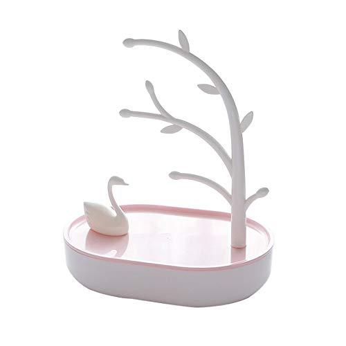 Bianco Portagioielli da Tavolo Collane Orecchini Anelli Navaris Portagioie Donna a Forma di Albero Espositore Porta Gioielli Metallo e bamb/ù