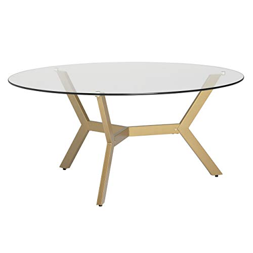 Studio Designs Home Archtech Modern 38' Round Coffee Table in Gold/Clear Glass
