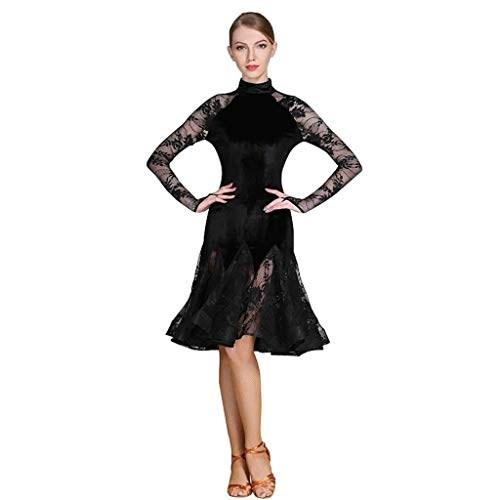 Latin Dance Kleid, National Dance Kleid, Erwachsenen Latin Dance Rock, Spitze Langarm Rock, Ballsaal Turnierkleid, (Color : Schwarz, Size : M)