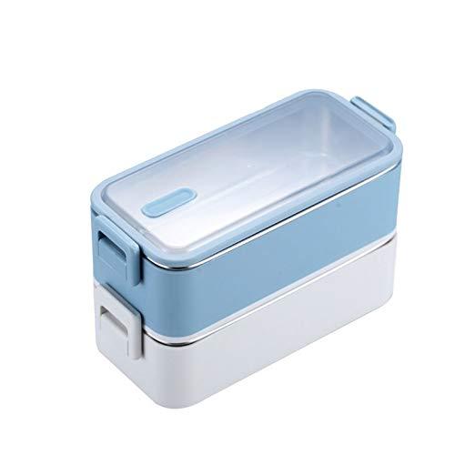 YUZHUKKKPYZ FH Bento Box 1100 ml de doble capa de acero inoxidable lonchera a prueba de fugas, caja de almuerzo para microondas, horno para adultos y estudiantes (color: azul)