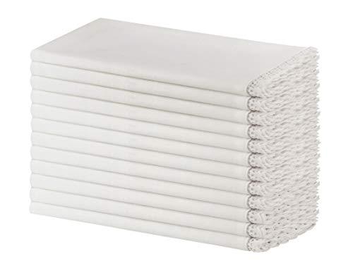 SweetNeedle - Packung mit 12 - Slub Baumwolle mit Häkelspitze Designer Dinner Servietten 50 cm x 50 cm (20 Zoll x 20 Zoll) in weißer Farbe - Premium Leinen Look - 100% Cellulose Naturfaser