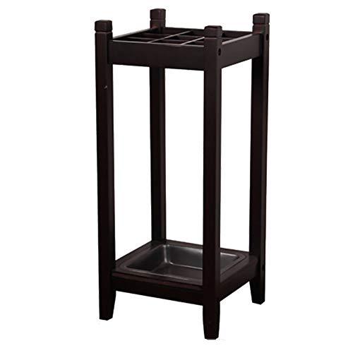 Zwarte traditionele stijl houten dennen wandelstokken/paraplu standaard met druppellade en 4 poten, vierkant,28 * 28 * 60cm