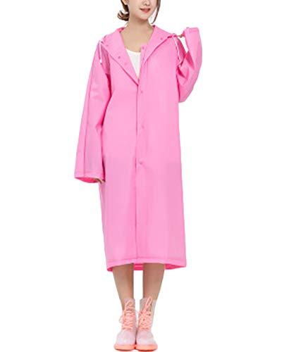 DianshaoA Erwachsene Durchscheinend Geleegel Regenmantel Regenponcho Regencape Regenjacke Wasserdicht Wiederverwendbar Eva Regenbekleidung Pink XL
