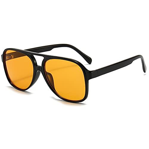 RUNHUIS Gafas de sol polarizadas para hombre y mujer, estilo retro de los años 70, estilo aviador, negro y amarillo,