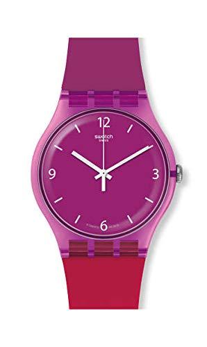 Swatch Unisex Adult Analogue Quartz Watch with Silicone Strap SUOV104
