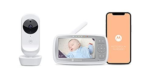 Motorola VM44/Ease44 Connect - Wi-Fi Babyphone con cámara - Video Baby Monitor de 4.3' HD - Aplicación Motorola Nursery - Visión nocturna, nanas, micrófono, monitoreo de temperatura ambiente