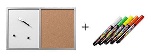 Herlitz kurk prikbord en magneetbord/grootte: 40 x 60 cm/met houten frame + 5 krijtmarkers