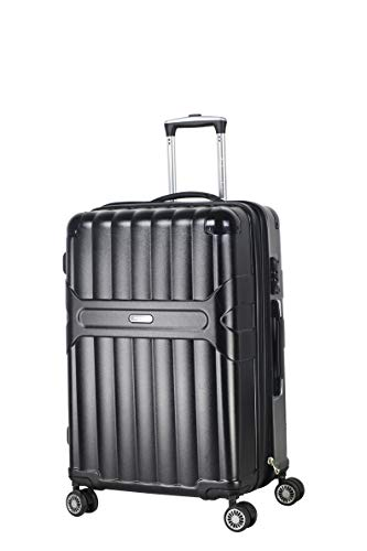 Ambassador Luggage Virgin PC material Spinner Luggage Hard shell Rolling Zipper Suitcase Expandable TSA lock (black, medium)