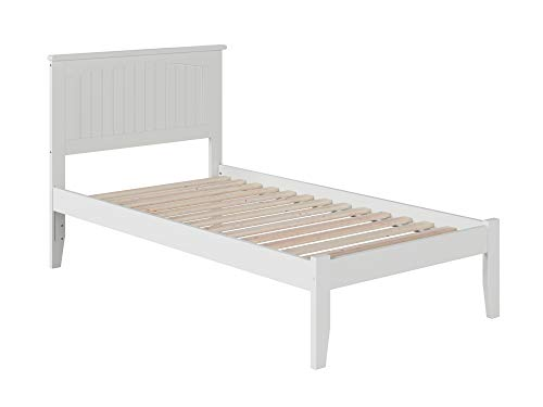 Atlantic Furniture Nantucket Platform Bed with Open Foot Board, Twin, White