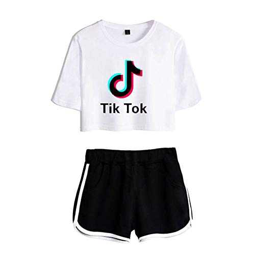 Mädchen T-Shirt Top Shorts Set 2 Stück Casual Trainingsanzug Sommer Outfits T-Shirts Und Shorts Laufen Jogging Sportanzug Set,White+Black-XXL