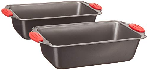 Amazon Basics Non-Stick Loaf Pan, 9 x 5-Inch, Gray with Red Grips, 2-Pack