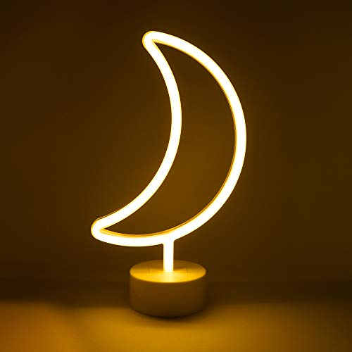 """Isaac Jacobs 11.5"""" x 6.5"""" LED Neon Yellow Crescent Moon Tabletop Lamp, White Base, Night Light, for Nightstand, Bedroom Décor & Party; Battery Powered (Batteries Not Included) (Yellow Moon)"""