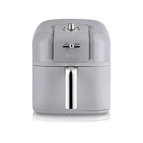 Swan Retro Air Fryer 6 L, Grey, Low Fat Healthy Frying, 80% Less Fat, Rapid Air Circulation, SD10510GRN