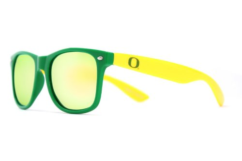 NCAA Oregon Ducks ORG-3 Green Front Temple Yellow Lenses Sunglasses, One Size, Green