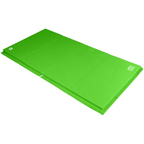 We Sell Mats 4 ft x 8 ft x 1.5 in Gymnastics Mat, Folding Tumbling Mat, Portable with Hook & Loop Fasteners, Lime Green