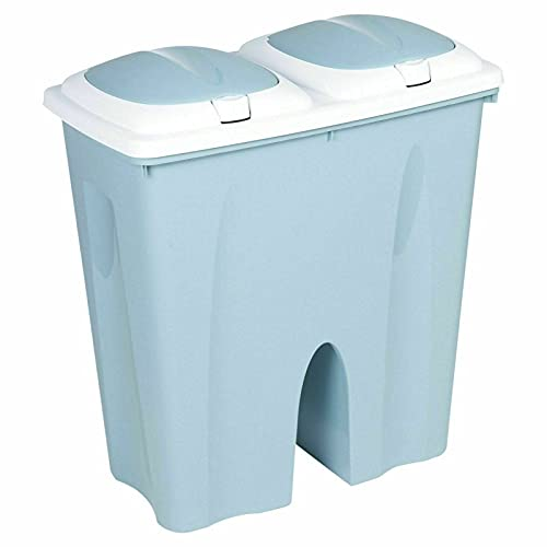 Muddy Hands Duo Double Bin 50 Litre Twin 2 Section Compartment Kitchen Recycling Rubbish Dustbin (Green)