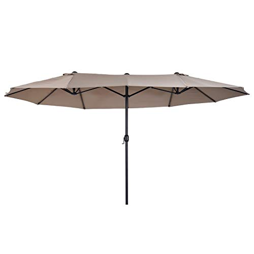 Outsunny 4.6m Garden Parasol Double-Sided Sun Umbrella Patio Market Shelter Canopy Shade Outdoor Tan - NO BASE