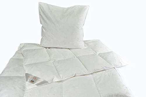 RIBECO Federbettdecke + Kissen Set, Hülle: 100% Baumwolle, weiß, 1x135x200 cm + 1x80x80 cm