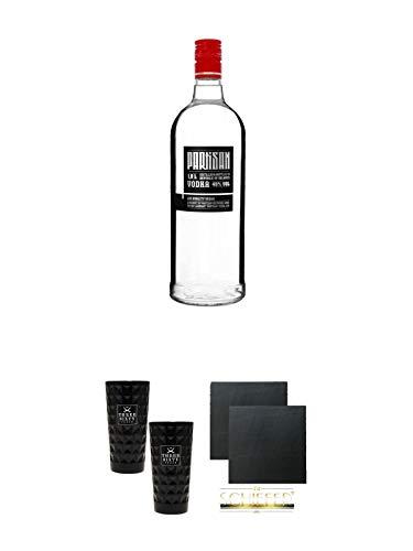 Partisan Vodka 40 Prozent 1,0 Liter + Three Sixty black Vodka Glas 2 Stück (black) + Schiefer Glasuntersetzer eckig ca. 9,5 cm Ø 2 Stück