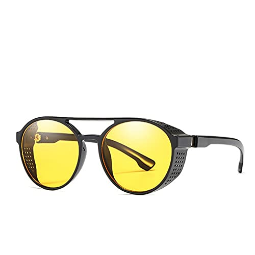 ZHATAOZH Moda Steampunk Gafas de Sol Mujeres Hombres Marca Diseño Retro Gafas Redondo Flip Up Gafas Steam Punk Vintage Eyewear Gafas de Sol Polarizadas Hombres Fresco Womens Sports