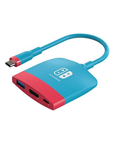 Dock Switch Dock para Nintendo Switch, estação de ancoragem portátil para TV Hagibis com porta HDMI e USB 3.0, base de substituição, conjunto de base tipo C para adaptador de TV HDMI para MacBook Pro Air Samsung DEX