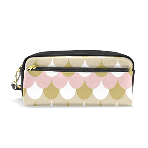 Pen Zipper Bag,Rosa Weißgold Kaffee Fisch Mer-Maid Scale Pu Leder Kosmetiktasche, Klassische Federmäppchen Für Büroreisen Wandern