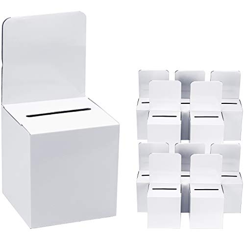 MaxGear Cardboard Donation Box, Ballot Box Suggestion Box Collection Box Raffle Box with 12 Free Inkjet and Laser Print Self-Adhesive Labels 6.1