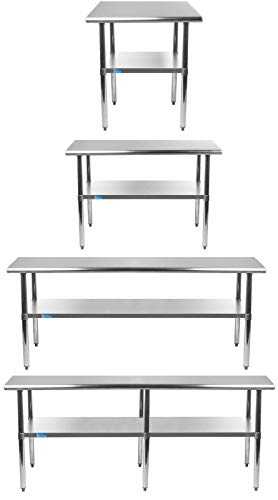 Stainless Steel Table+ Optional Casters | Choose From 43 Sizes | NSF Metal Work Table For Kitchen Prep Utility | Commercial and Residential Applications.