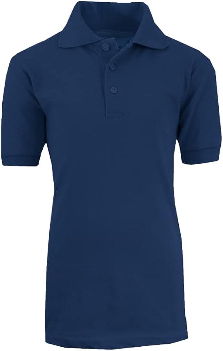 Boys School Uniform Short Sleeve Polo Shirt44; Navy - Size 4-7 - Case of 36-36 Per Pack