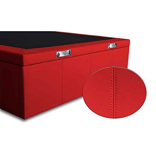 Ventadecolchones - Canapé Abatible Lisboa Gran Capacidad Tapizado en Polipiel Rojo con Costuras Medidas 135cm x 190 cm