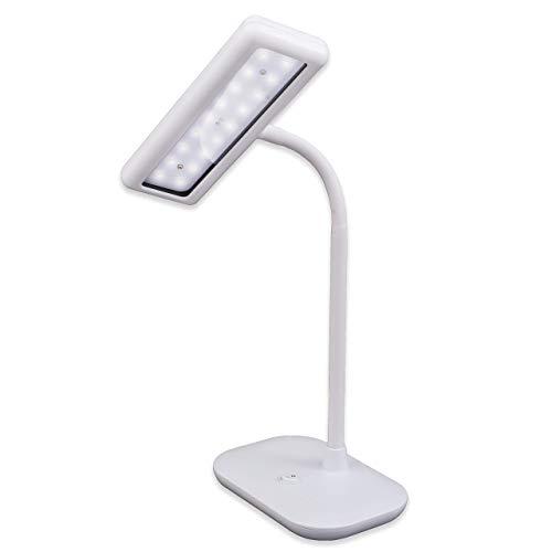 Briloner Leuchten LED Schreibtischlampe, Tageslicht 6500 Kelvin, 800 Lumen, Leuchtenhals dreh- und schwenkbar, 8.5 W, Weiß