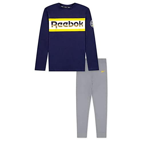 Reebok Boys' 2-Piece Clothing Set-Long Sleeve Crewneck T-Shirt + Comfy Fleece Jogger Sweatpants, LT Heathr Gry, 7