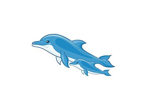 GRAZDesign Wandtattoo Delfine - Wandsticker Kinderzimmer - Fliesenaufkleber Badezimmer blau / 59x30cm