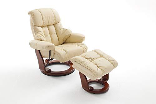lifestyle4living Relaxsessel in Creme, Echtleder, Gestell 360° drehbar Wallnuss-Braun inkl. gepolstertem Hocker | Perfekter Sessel mit Relaxfunktion