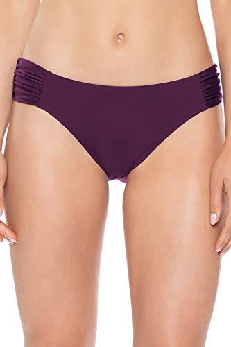 Becca by Rebecca Virtue Women's American Shirred Tab Side Hipster Bikini Bottom Merlot M