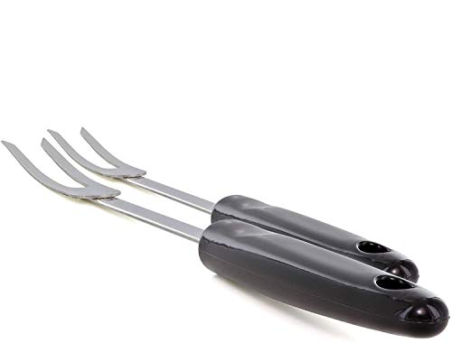 Stainless Steel 2 Prong Fork Rubber Good Grips Handle Cocktail Fork With Sharp Two Prongs Perfect For Parties Heavy Duty with Two Tines Mini Salad Fork Pack of 2 - By Ram-Pro