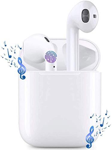 Auricolare Bluetooth Senza Fili, Cuffie Wireless Stereo 3D with IPX7 Impermeabile, Accoppiamento Automatico Per Chiamate Binaurali, Adatto Compatibile con iPhone/Android/Apple AirPods (bianca)