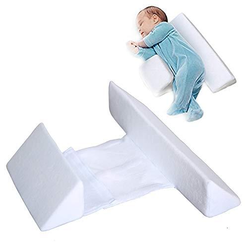 HAVAJ Nueva cuña de dormir lateral para bebé, almohada de reflujo de sueño infantil de algodón antirollo, cuña de diseño de inclinación de 45° – cojín ajustable para bebé, almohada antisaliva de leche