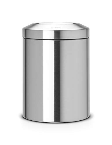 Brabantia Prullenbak, Vuilnisbak, Afvalbak, met vlamdover, 7 liter - Matt Steel, 378942