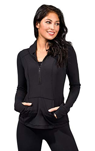 Yogalicious Nude Tech Half Zip Long Sleeve Jacket with Front Pockets - Black - Large