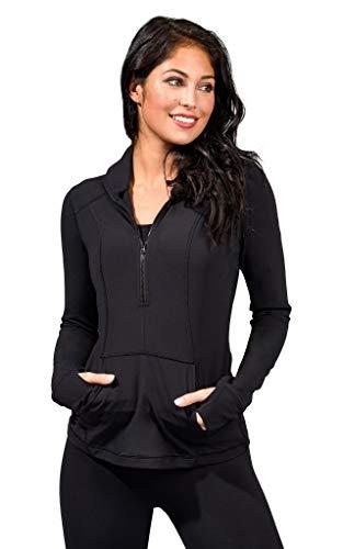 Yogalicious Nude Tech Half Zip Long Sleeve Jacket with Front Pockets - Black - Medium