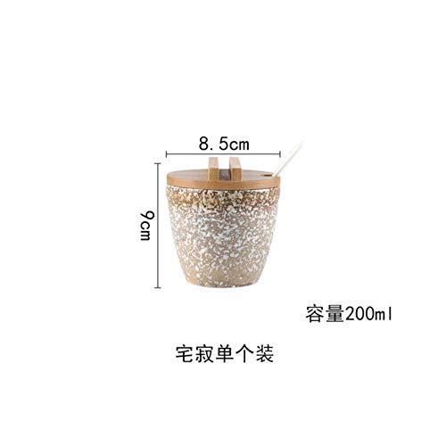 Japanse stijl Keramische Kruiden Jar Cruet Set Peper Zout Fles Container Opslag Specerijen Kruidenrek Houder met Lepel Deksels, A - 1 stuk
