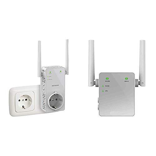 Netgear EX6130 Ripetitore WiFi AC1200, Velocita Passthrough, Range Extender Universale & EX3700-100PES Ripetitore Wifi 750 Mbps, Wifi Extender e Access