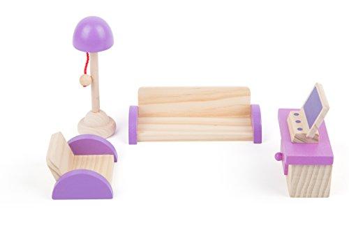 small foot 10870 houten poppenmeubel voor de woonkamer in het poppenhuis, incl. bankstel, commode, tv en lamp, geschikt voor buigpluggen, ideaal poppenaccessoire voor kinderen vanaf 3 jaar