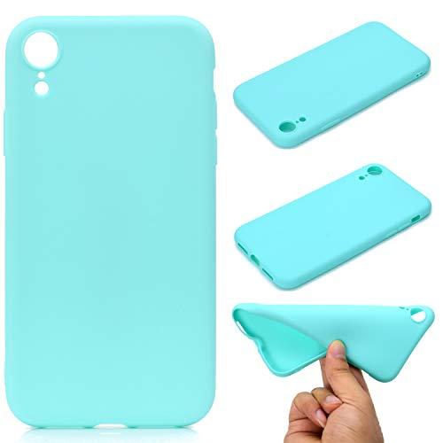 LeviDo Coque Compatible pour iphone XR Étui Silicone Souple Bumper Antichoc TPU Gel Ultra Fine Mince Caoutchouc Bonbons Couleurs Design Etui Cover, Bleu Vert
