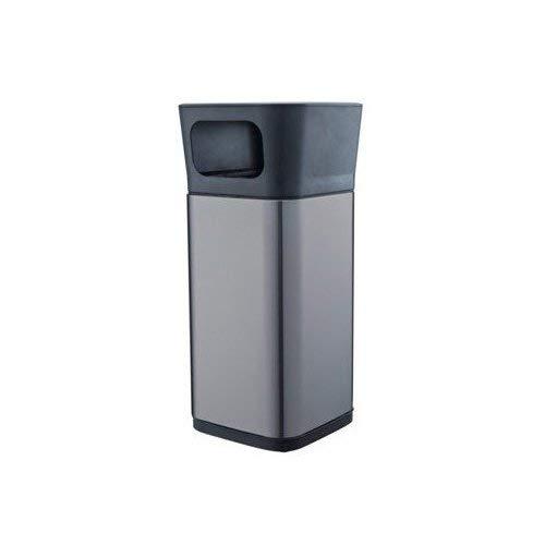 Metlex Standaschenbecher aus Edelstahl für Außenbereich, rostfreier Kombi-Standascher mit herausnehmbarem Mülleimer und abnehmbarem Aschenbecher, Farbe: verchromt oder schwarz