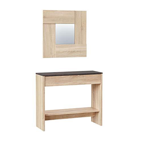 Habitdesign Mueble Recibidor con Cajón y Espejo, Mueble Consola, Acabado en Color Roble Canadian y Oxido, Medidas: 92 cm (Ancho) x 79 cm (Alto) x 33 cm (Fondo)