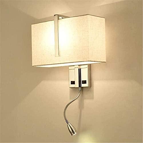 Lámpara de pared de 2 luces con interruptor de tela, pantalla de espejo, lámpara de pared de acero inoxidable con foco LED, lámpara de lectura de cabecera para dormitorio, sala de estar, pasillo, hote