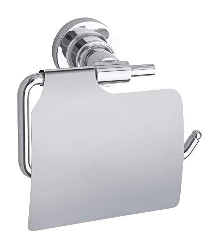 Tesa Luup Dérouleur papier toilette avec couvercle, métal chromé, adhésif, technologie sans percer, 135 mm x 140 mm x 75 mm