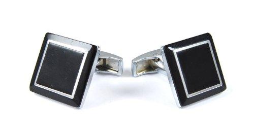 Gemelolandia | Boutons de Manchette double square in grey de forme carrée Acier/noir | Pour Hommes et Garçons | Cadeaux Pour Mariages, Communions, Bap